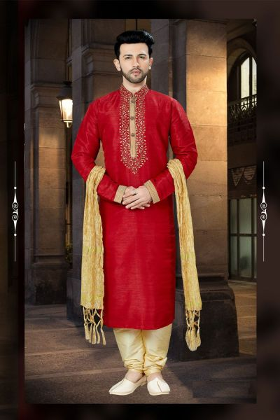 Red Banglori Silk Designer Kurta Pajama (NMK-3797)