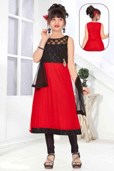 Red, Black Net Girls Salwar Kameez (NFG-136)