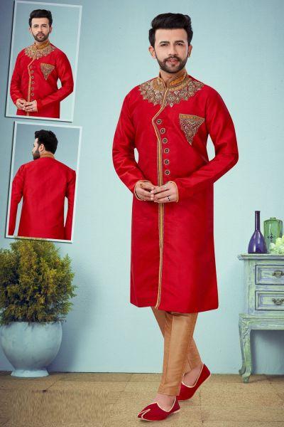 Red Dobby Kurta Pajama for Men (NMK-4866)