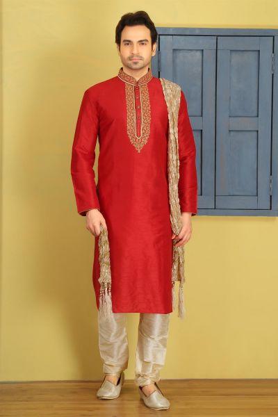 Red Dupion Art Silk Kurta Pajama (NMK-3732)