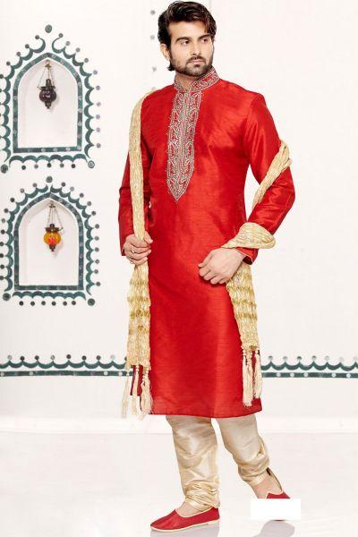 Red Dupion Art Silk Regular Kurta Pajama (NMK-3033)