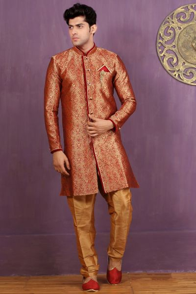 Red, Fawn Jaquard Silk Brocade Indo Western (NMK-3263)