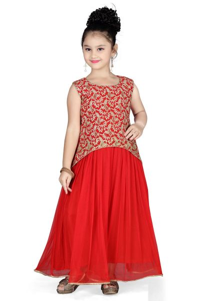Red Georgette Girls Gown (NFG-116)