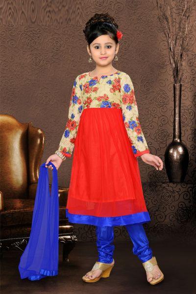 Red Georgette Girls Salwar Kameez (NFG-082)