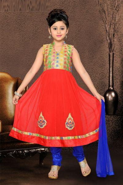 Red Georgette Girls Salwar Kameez (NFG-084)