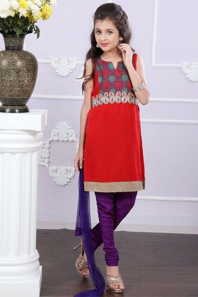 Red Georgette Girls Salwar Suit (NFG-187)