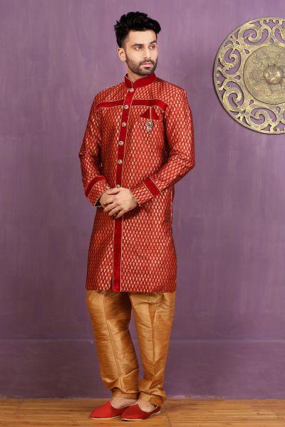 Red Jaquard Silk Brocade Indo Western (NMK-3270)