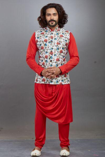 Red Lycra Nehru Jacket (NMK-4671)