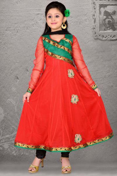 Red Net Girls Salwar Kameez (NFG-044)