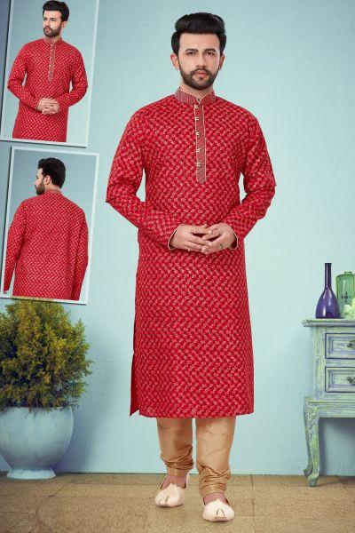 Red Printed Cotton Silk Kurta Pajama (NMK-4823)