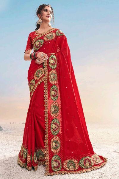 Red Pure Satin Saree (NWSA-5040)