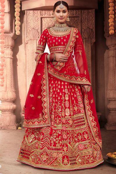 Red Silk Bridal Lehenga Choli (NWG-697)