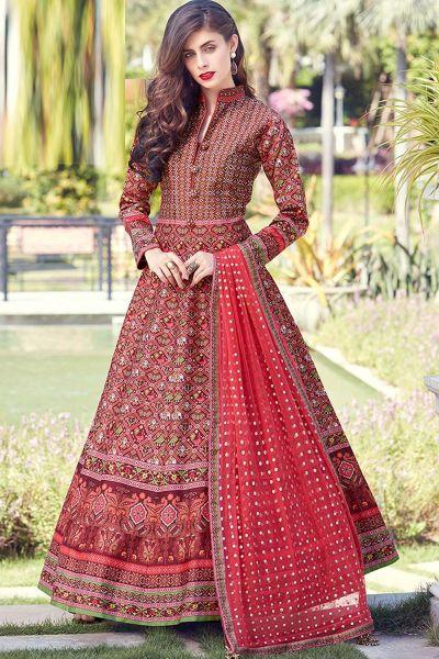 Red Silk Salwar Kameez (NWS-4825)