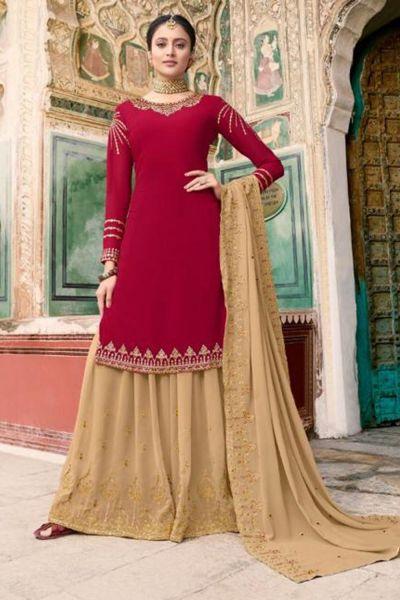 Red Soft Georgette Salwar Kameez (NWS-5070)