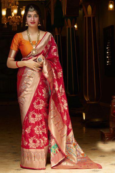 Red Soft Silk Saree (NWSA-5134)