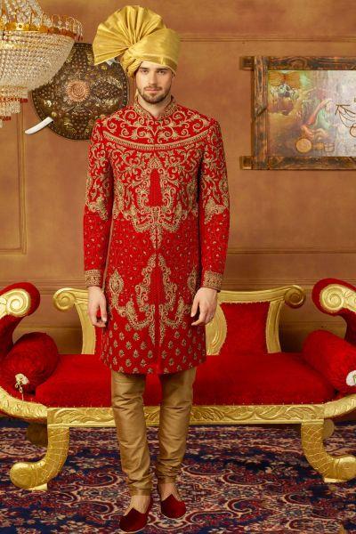 Red Velvet Indian Sherwani (NMK-3915)