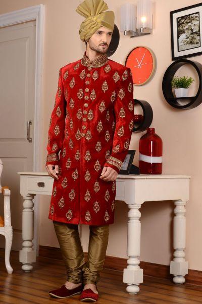 Red Velvet Sherwani (NMK-3487)