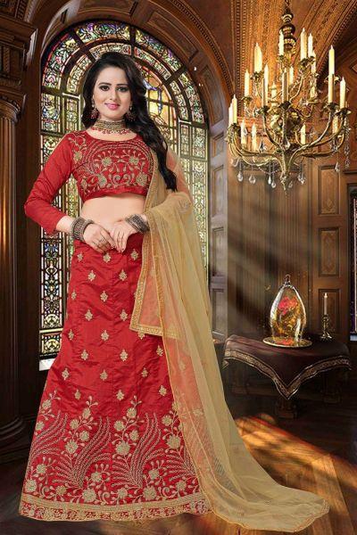 Red Zoya Silk Casual Lehenga Choli (NWG-349)