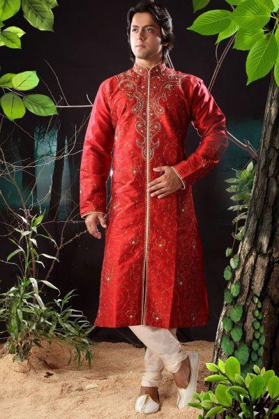 Reddish Maroon Art Dupion Mens Kurta (NMK-1164)