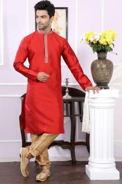 Reddish Maroon Dobby Dupion Designer Kurta Pajama (NMK-4067)