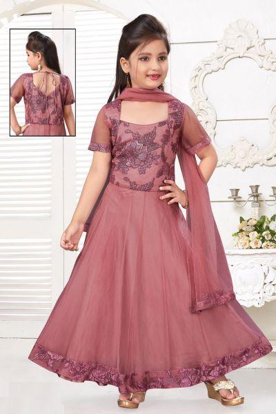 Rose Gold Pink Net Girls Salwar Kameez (NFG-217)