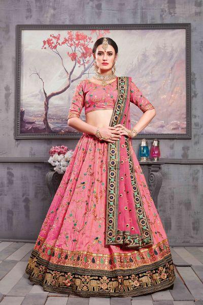 Rouge Pink Banarasi Silk Bridal Lehenga Choli (NWG-300)