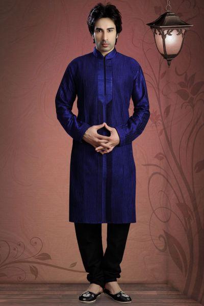 Royal Blue Art Dupion Designer Kurta Pajama (NMK-2072)
