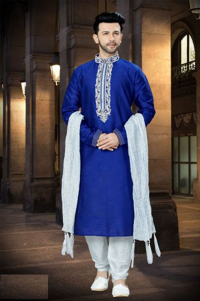 Royal Blue Art Dupion Designer Kurta Pajama (NMK-3754)