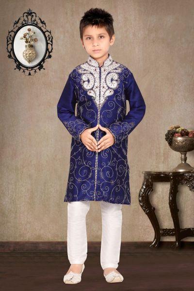 Royal Blue Art Dupion Embroidered Kids Sherwani (NKK-476)