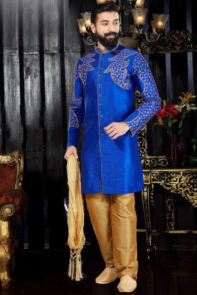 Royal Blue Art Dupion Indo Western(NMK-3359)