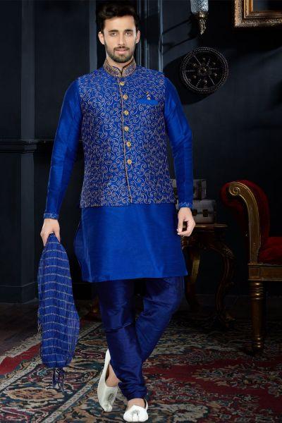 Royal Blue Art Dupion Jacket Style Kurta (NMK-3423)