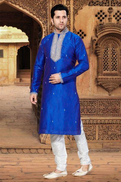 Royal Blue Art Dupion Kurta Pajama (NMK-2912)