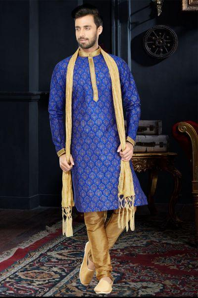 Royal Blue Art Dupion Kurta Pajama (NMK-3411)