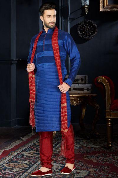 Royal Blue Art Dupion Kurta Pajama (NMK-3427)