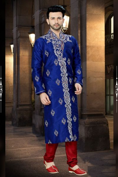 Royal Blue Art Dupion Kurta Pajama (NMK-3783)