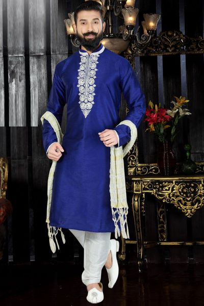 Royal Blue Art Dupion Kurta(NMK-3378)