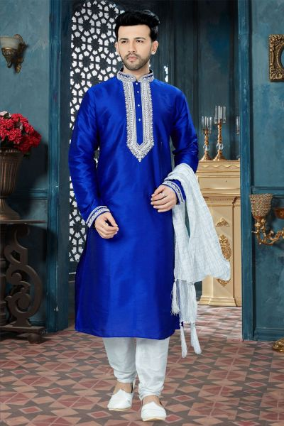 Royal Blue Art Dupion Regular Kurta Pajama (NMK-3812)