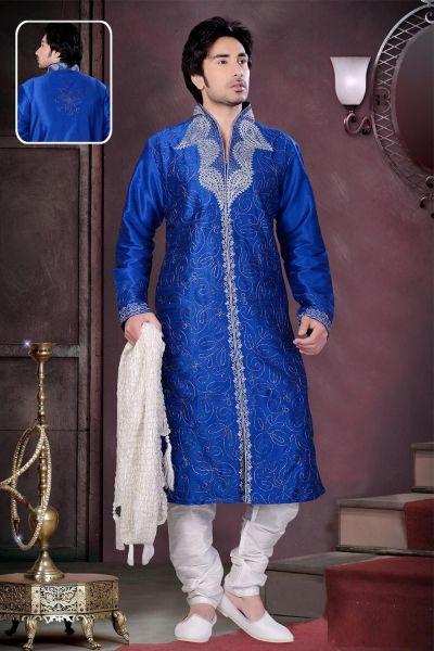Royal Blue Art Dupion Silk Kurta Pajama (NMK-1572)