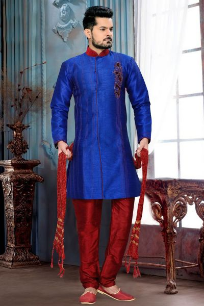 Royal Blue Art Silk and Patch of velvet Indo Western (NMK-2673)