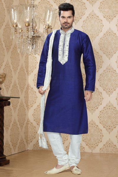 Royal Blue Art Silk Designer Kurta Pajama (NMK-2269)
