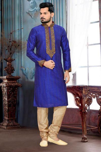 Royal Blue Art Silk Kurta Pajama (NMK-2654)