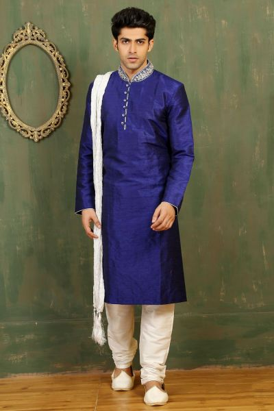 Royal Blue Dupion Art Silk Kurta Pajama for Men (NMK-3292)