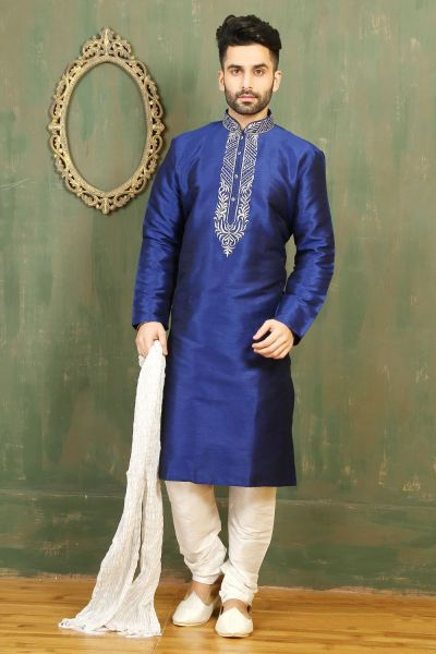 Royal Blue Dupion Art Silk Kurtas for Men (NMK-3310)