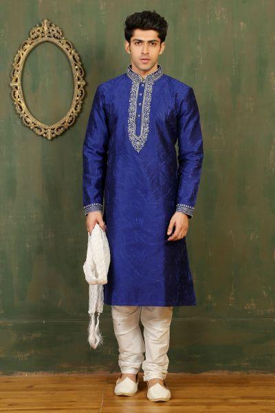 Royal Blue Dupion Art Silk Mens Kurta (NMK-3335)