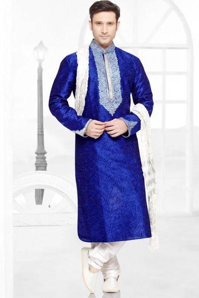 Royal Blue Dupion Silk Kurta Pajama (NMK-2777)