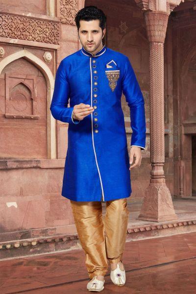Royal Blue Giccha Silk Indo Western for Men (NMK-2857)