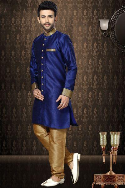Royal Blue Giccha Silk Indo Western Kurta (NMK-3195)