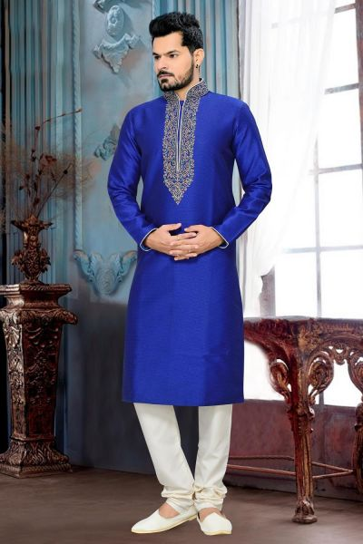 Royal Blue Giccha Silk Kurta Pajama (NMK-2639)