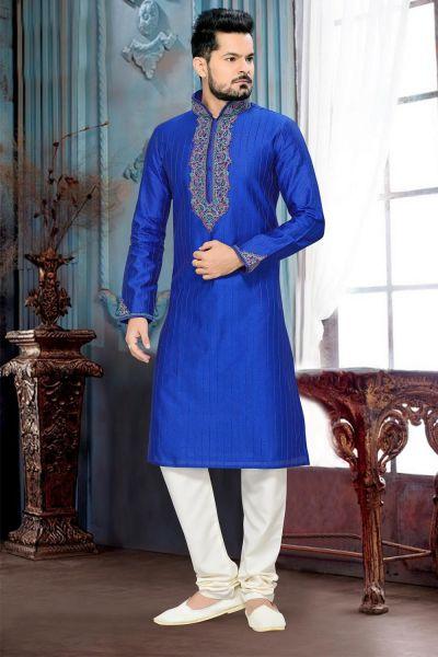 Royal Blue Giccha Silk Mens Kurta (NMK-2640)