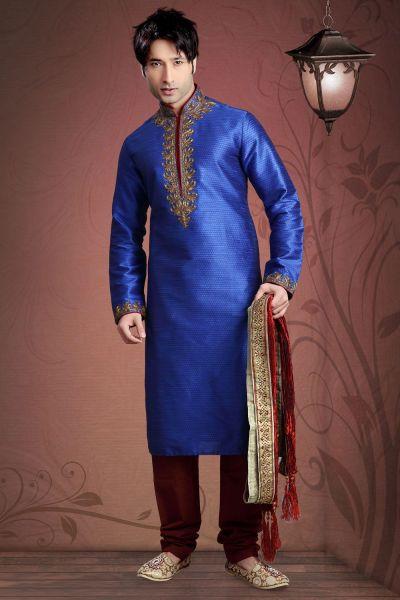 Royal Blue Jacquard Designer Kurta Pajama (NMK-2034)